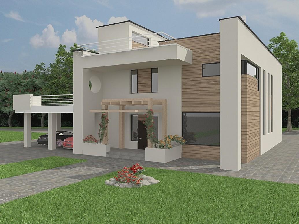 Светлый дом плоская крыша
