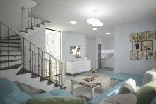 Двухуровневая гостиная стиль легкий прованс