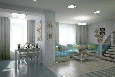Голубой диван гостиная стиль легкий прованс