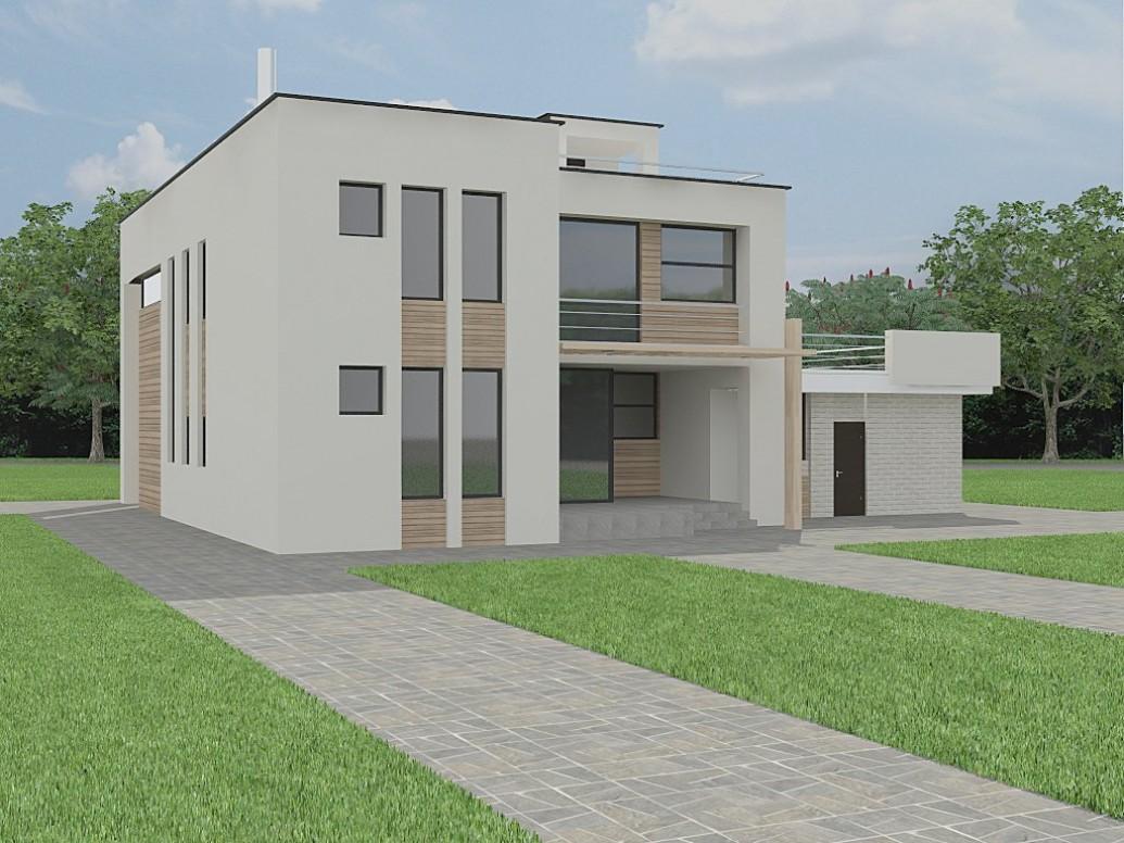 Белый дом плоская крыша современный стиль