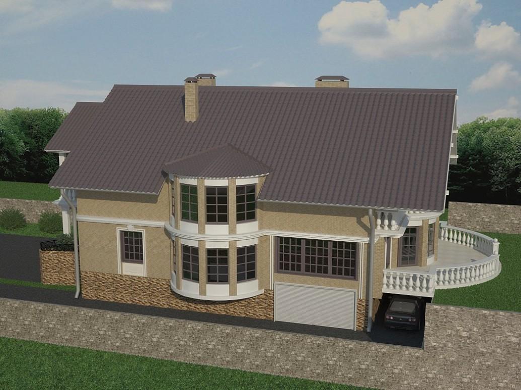 Дом эркер большие окна