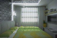 Широкие гардины спальня небольшая квартира