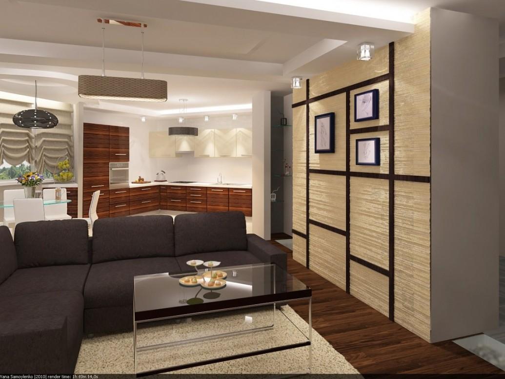 Кухня квартиры-студии в коричневом