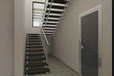 Лестница двухэтажного дома в европейском стиле