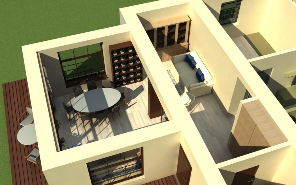 Светлый интерьер терассы пристройки загородный дом