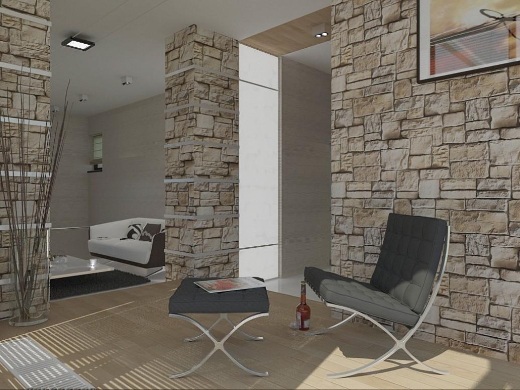 Облицовка камнем зоны отдыха гостиной европейский стиль
