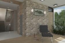 Облицовка камнем гостиной двухэтажного дома